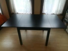 Extendable Dining Table, Black, 90/129/168x90 cm (Ikea BJURSTA)