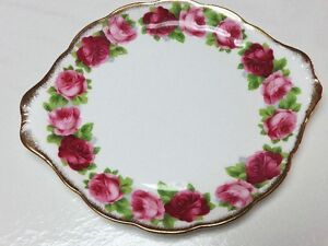 Royal Albert Old English Rose Bone China Cake Plate England