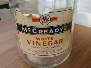 Collectable McCready's White Vinegar 160 oz clear glass jug