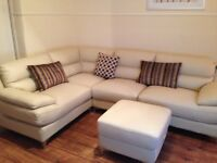 Cream Leather Corner Sofa & Footstool