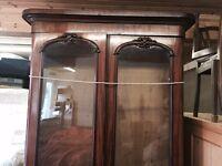 Victorian Antique Bookcase on Cupboard