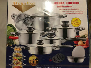 Induction, Gas, Electric - 17pc Monalisa Cookware Set UNOPENED