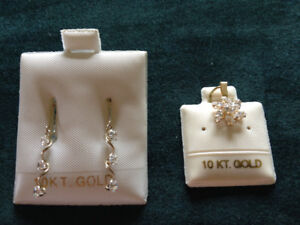 Sparkling Earrings or Pendant in 10 Kt Gold
