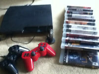 PS3, 2 controllers, Camo headset (COD)