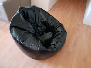 Black Faux Leather Bean Bag With Foam Beads