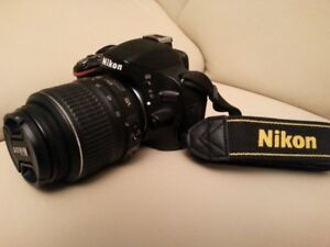 """Nikon D5200 DSLR Camera"" with 18-55 Lens, Strap, Accessories"