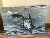 Black and white canvas of horse