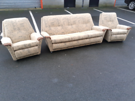 Vintage Fabric 3 Seater Sofa and 2 Chairs