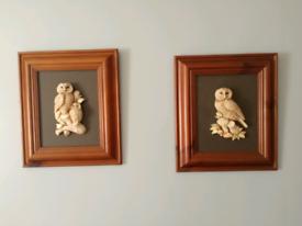Pine framed 3D effect owl wall hanging