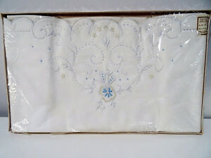 unused Bed Linens GORDON MACKAY PILLOW SLIPS Madeira embroidery