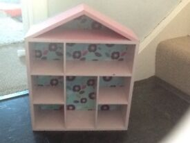 Small house shaped wooden storage shelves,