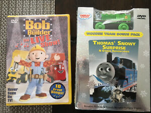 Thomas the Train, Bob the Builder DVDs - brand new, toy incl.