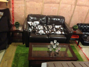 Couch, coffee and end tables