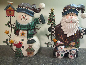 "12"" Santa, 12"" Snowman + 6 matching tree ornaments"