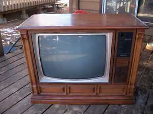 Working Cabinet Colour Television with remote to Give Away