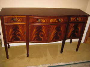 Antique Double Pedestal Mahogany Dining Table, Chairs, Sideboard