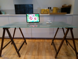 Large Office desk with solid glass and trestle legs
