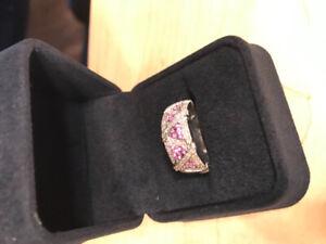 Bague Femme 14Kt Or Blanc 50 Diamants / 15 Saphirs Rose
