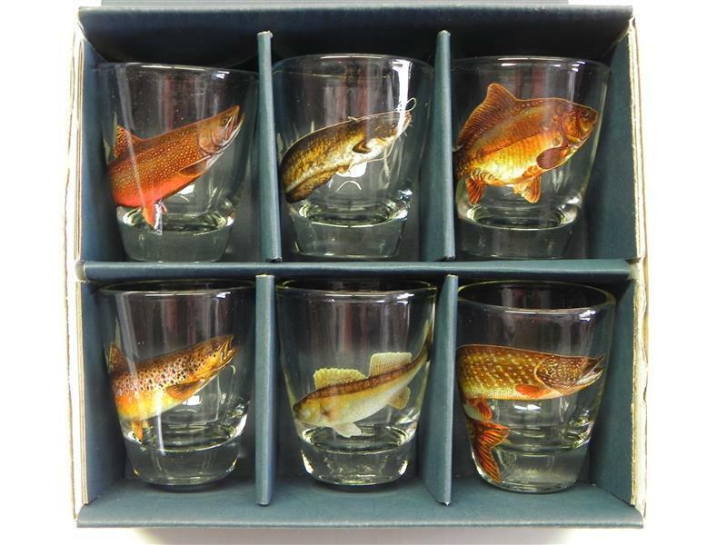 6 teiliges Schnaps Gläser Set mit Jagddekor Geschenkidee Stamper kurze Glas NEU