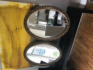 3 Antique Oval Matching Mirrors