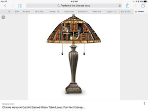 Charles Wysocki Cat Art Stained-Glass Table Lamp