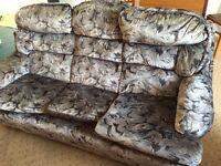 Three seater sofa settee grey velour FREE