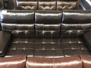 GENUINE LEATHER POWER RECLINER SOFA