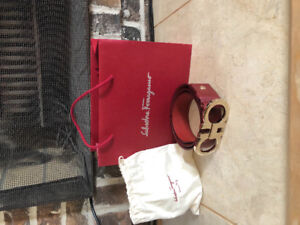 Red Big Buckle Ferragamo Belt Sz 30-32 Authentic