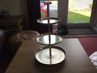 Three Tiered Stainless Steel Cake Stand, can be taken apart for easy storage