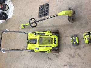 Ryobi cordless lawn mower and trimmer