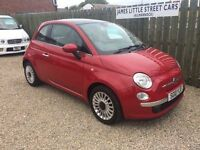 Fiat 500 lounge 1.2 10 reg only 26,000 miles 1 year mot £30 road tax finance availible