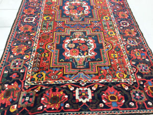 semi-antique persian rug,handknotted,wool,6.8 x 4.9 ft,