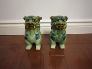 Green Chinese Lions Sculpture Statue Figurine Home Decor