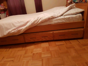 Solid wood trundle.