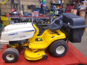 Cub cadet riding lawnmower with bagger