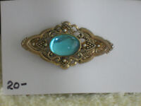 EYECATCHING OLD VINTAGE LADY'S BROOCH with TURQ.GEMSTONE
