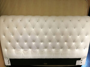 *REDUCED PRICE* White Crystal Tufted Sleigh Bed