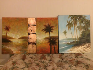 Palm Tree and Ocean Shore Oil Paintings