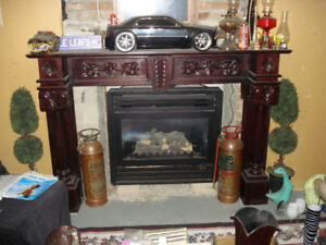 Gas Fireplace and Cherry Mantel