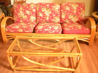 Vintage Bamboo Couch Set - 7 pieces