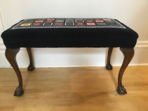 Antique Needlepoint Fireside Bench
