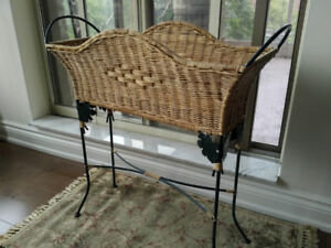 Wicker and Wrought Iron Plant Basket