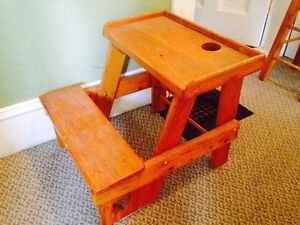 """Vintage Hand Crafted Pine Toddlers Desk, 22"""" x 21"""" x 19"""""""