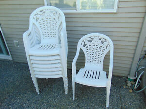 8 stackable formal high back patio chairs
