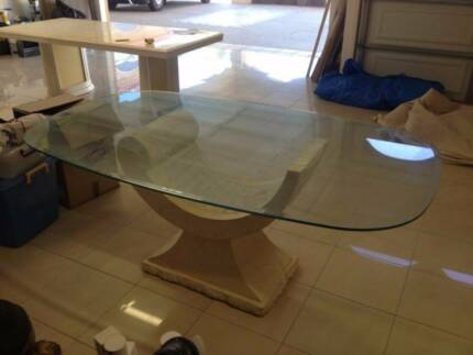 Renovation Sale Stone Base Glass Top Dining Table