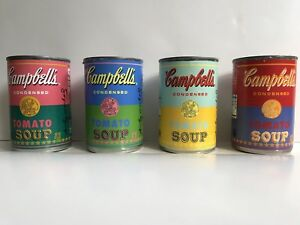 Set of 4 Andy Warhol Campbell's Tomato Soup Cans 50th Anniversary POP ART Target