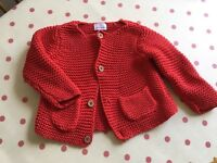 John Lewis unisex red knitted cardigan 0-3 mths