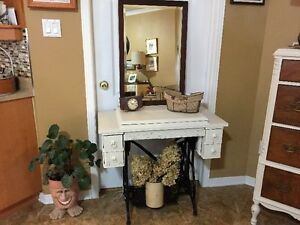 Antique Sewing Maching Cabinet and Antique Mirror