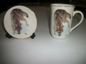Wolf Mug and Saucer by Glen Loates