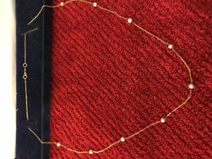 14k gold necklace with 9 fresh water pearls 14k gold necklace wi